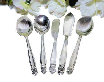 Five Silverplate Serving Pieces 1938 Danish Princess Butter Jelly Sugar