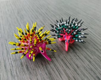 Porcupine alebrije pair from Oaxaca, Mexico- Oaxacan folk art - Mexican wood carving