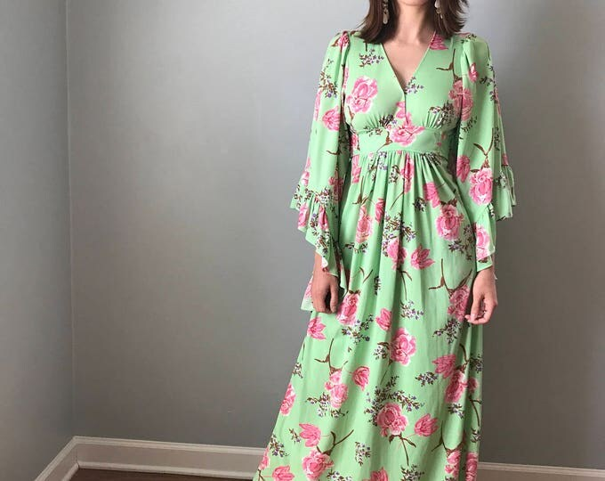 70s Spearmint Angel Wing Floral Maxi Festival Prom