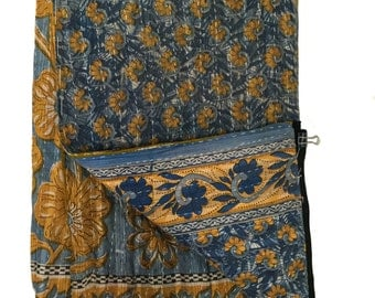 Vintage Kantha Quilt Curtain Panel- TAPESTRY
