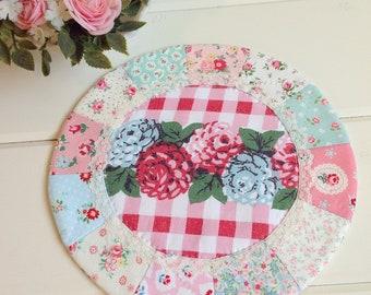 a lovely vintage floral gingham patchwork doily