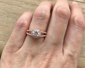 Art Deco Engagement Ring- Rose Gold Promise Ring- Split Band Engagement Ring- Halo Alternative Engagement Ring- Simulated Diamond Ring