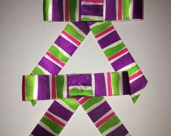 Ribbon Hair Bow - Striped Hair Bow - Child's Hair Bows - 2 Hair Bows