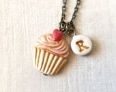 Cupcake Necklace, Personalized necklace for girl, birthday gift for 7 years old girl, Flowergirl, Niece jewelry, Cupcake Theme Party