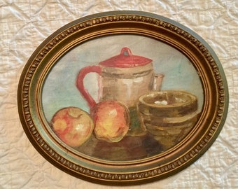 """Vintage Beautuful 11 3/4"""" X 9 3/4"""" Oval 1950s Antique """"Still Life"""" Picture with Wood Frame, Normal Wear, A Few Chips"""