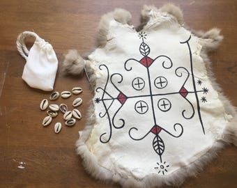 Deluxe Cowrie Shell Divination Beginner's Set- shells and rabbit fur mat - Pagan Wiccan African