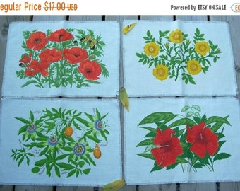 ON SALE Vintage set of Four Flowered Place mats  Wall Hangings