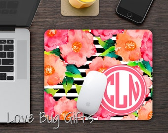 Personalized Mousepad * Stripe * Watercolor floral * Monogrammed * Desk accessory * Mouse Pad * Circle monogram