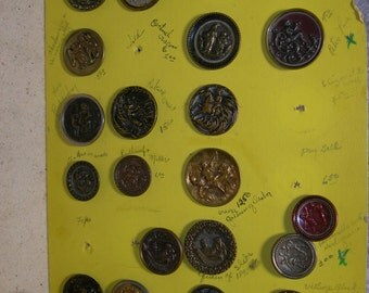 Scarce Antique Victorian Brass Metal Picture Buttons Qty 21