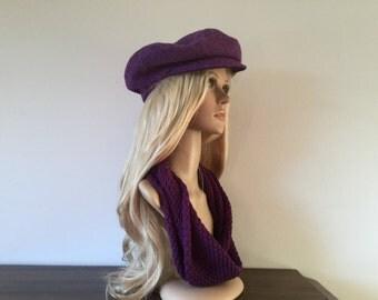 Cap sewn from Harris Tweed - purple