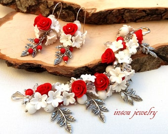Red Jewelry, Flower Bracelet, Red Roses, Flower Jewelry, Statement Bracelet, Red Earrings, Red White, Coral Jewelry, Women Gift, Valentines