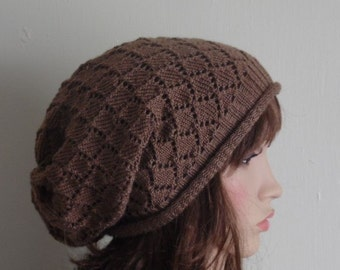 Knit lace hat, knitted handmade hat for women, women's lace beret, slouchy hat, knitted beret, slouchy lace beanie, knit baggy beanie