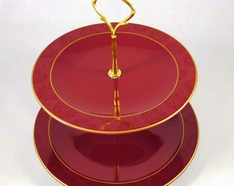 Vintage 2 Tiered Serving Tray, Jaclyn Smith, Burgundy and Gold Tiered Plates for Pastry, Cookies, Cupcakes, Buffet, Wedding, Shower
