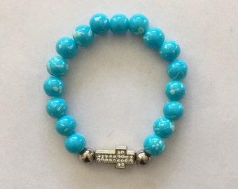ON SALE - Turquoise beaded bracelet with rhinestone cross charm.