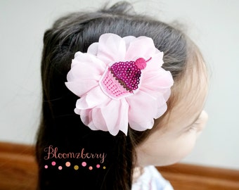 Pink Cup Cake Hair Clip -  Girl Hair Clip -Baby Hair Clip/Everyday Wear/Photo Props/Holidays/Gift - Baby Girl Hair Clip -Baby to Adult