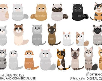 Sitting cats  digital clip art for Personal and Commercial use - INSTANT DOWNLOAD