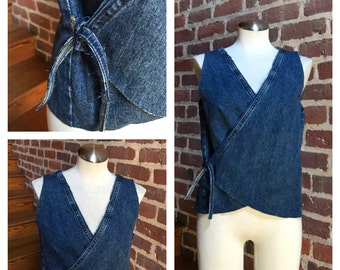 Recycled Denim Open Back, Wrap Top