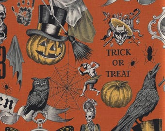 Alexander Henry Fabrics, Trickery, Vintage Halloween Images on Orange, 100% cotton