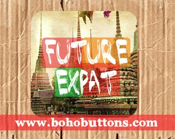 Future Expat Square Vinyl Sticker, Travel Sticker, Thailand Decal, Traveler Decal Sticker, Expatriate Bumper Sticker, Laptop Decal