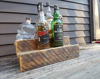 Wood double shelf- Liquor Bottle Shelf- Made to order- Rustic Wood