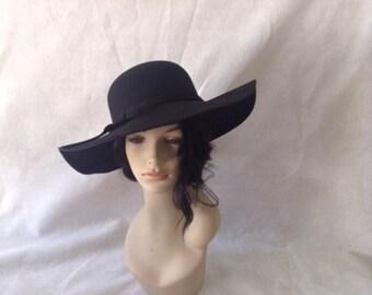 Black Wide Brim Floppy Wool Felt hat,Large Brim Black felt Hat, Womens Wide Brim Winter Hat, Boho Wide Brim Felt Hat