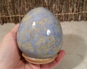 READY TO SHIP - Pottery Cremation Urn - Wheel Thrown Clay - Keepsake Cremains Jar For Family Member or Pet Ashes - Speckled Egg -Up to 8 lbs