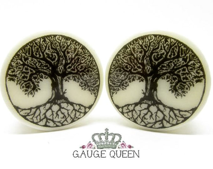 "Tree Of Life Plugs / Gauges. 4g /5mm, 2g /6.5mm, 0g /8mm, 00g /10mm, 1/2"" /12.5mm, 9/16"" /14mm, 5/8"" /16mm, 3/4"" /19mm, 7/8"" /22mm, 1"" /25mm"