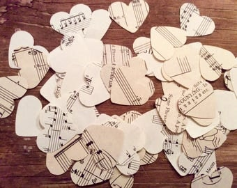 Vintage sheet music hearts, circles or flowers confetti cut outs