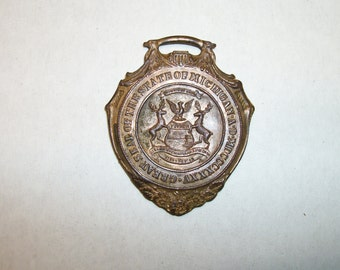 Antique Great Seal State of Michigan Watch fob 14k on Gold on Bronze
