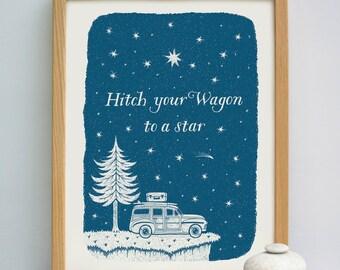 Hitch Your Wagon Print to a Star Print | Travel Quote Print | Surf Trip Print | Road Trip Print | Travel Print | Bon Voyage Gift
