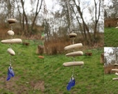 blue sea glass beach pottery seaglass pendant mobiles wind chimes Scottish beach finds jewelry