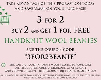 3 For 2 Handknit Wool Beanies Promotion