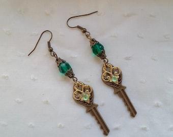 Steampunk with a key earrings