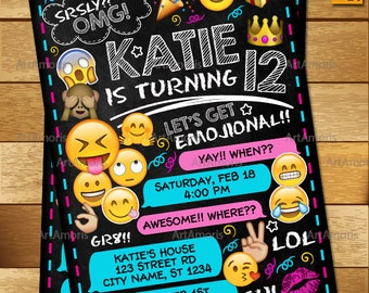 Emoji Invitation, Emoji Birthday Invitations, Teen Birthday Invitation, Girls Teen Invitation, Emoji Invites R-162