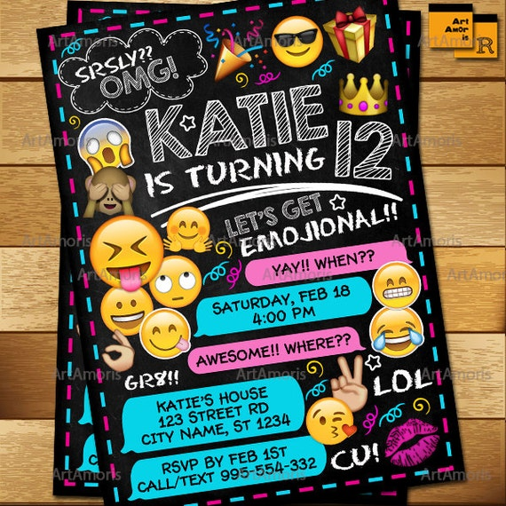 Emoji Invitation Emoji Birthday Invitations Teen Birthday
