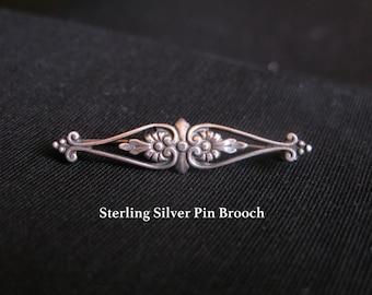 Victorian Bar Pin Brooch, 935 Silver Art Deco Revival Edwardian