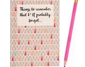 A6 Small Fabric Covered 'Things to Remember' Ruled Notebook - Geometric Beige