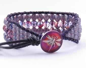 Dragonfly Leather Cuff Bracelet Bohemian Cuff Bracelet Beaded Leather Cuff Braclet