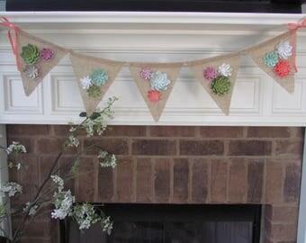 Succulent Burlap Banner,Paper Succulent Detail,Succulent Decorations,Burlap Banner,