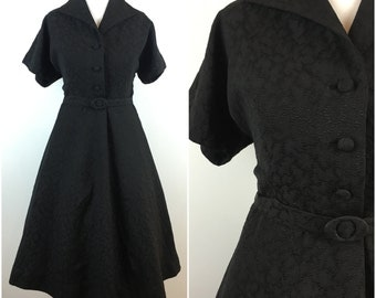 Vintage 1950s Dress - Black Jacquard 50s Tea Dress - Shirtwaist Dress - Formal - Belted Swing Skirt - Small - UK 10 / US 6 / EU 38 -