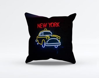 New York Neon Light Pillow Cover 15 x 15 inch, Taxi cushion cover, Ny Decorative Pillow Cover, Home decor