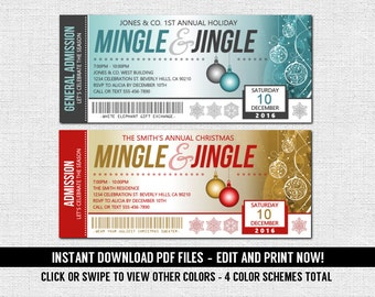 Holiday Party Mingle and Jingle Ticket Invitations Christmas (Instant Download) Editable and Printable PDF Files Ugly Sweater Cocktail Staff