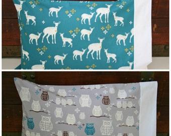 Ready to Ship, Organic Toddler Pillowcase, Organic Travel Pillowcase, Deer, Owls