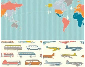 Organic Crib Sheet, Mini Co-Sleeper, Co-Sleeper, Pack n Play, Mini Crib, Fitted Crib Sheet, Airplanes, Buses, Map, Trans Pacific
