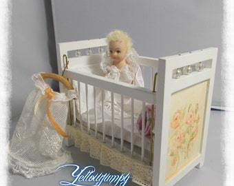 1/12th dollhouse miniature Shabby Chic Cot and Baby