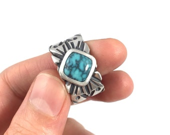 Turquoise and heavy silver handmade Turquoise ring