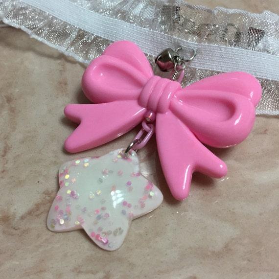 White and Pink Star Choker