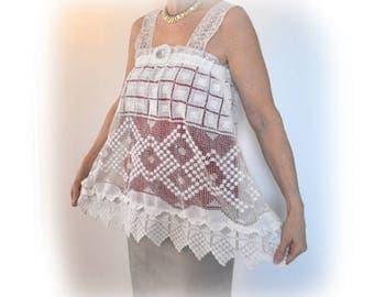 Beautiful Lace Vest Tunic, Upcycled Vintage Lace, CHARLOTTE white lace vest, Repurposed Lace, Elegant Vest, Sz Small, OOAK, Cottage Chic