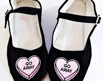 Go Away rude conversation candy hearts Cotton Mary Jane Shoes 90's  Any Size Limited Quanity