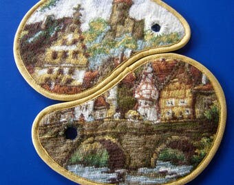 Potholder set, recycled wool embroidery, German village felted wool embroidery ovenglove, YinYang pot holder, coaster, yellow brown